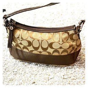 💕 Coach tan brown mini bag makeup bag 💕